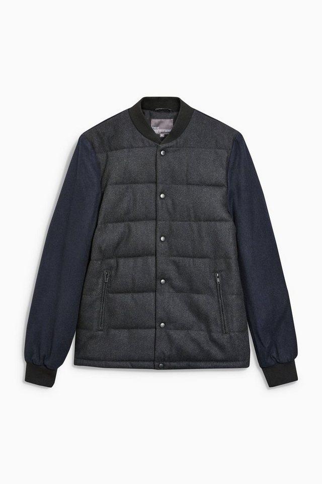 Next Wattierte Jacke aus Wollgemisch in Grey