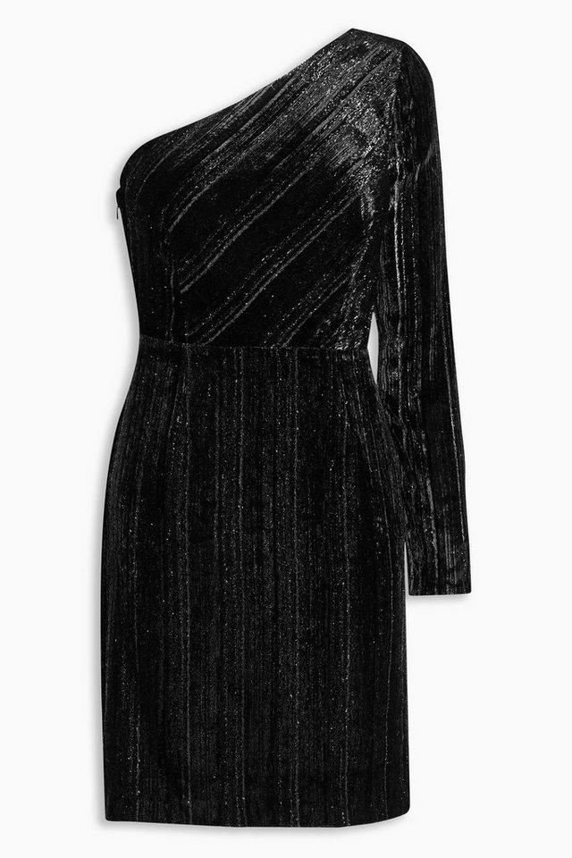 Next One-Shoulder-Kleid aus Samt in Black