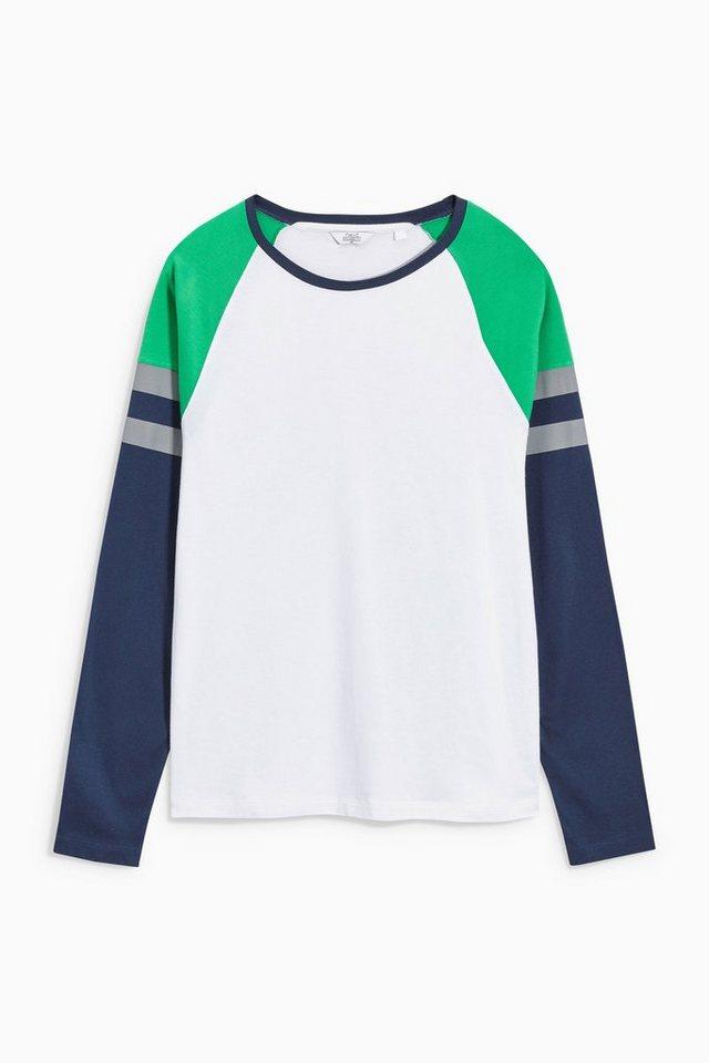 Next Shirt mit gestreiften Raglanärmeln in White