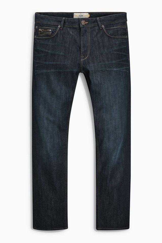 Next Raw-Denim-Jeans mit Lederbesatz in Black
