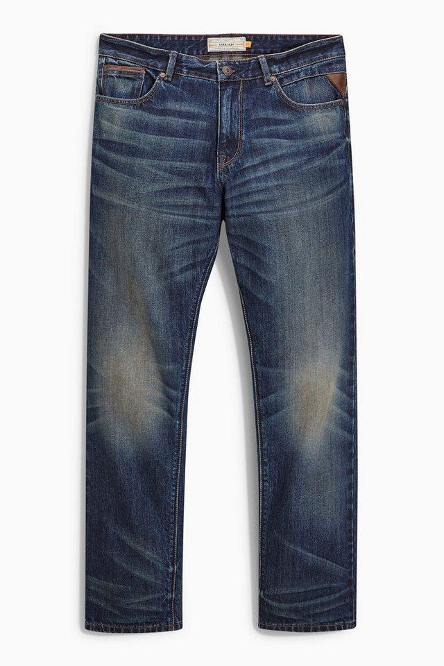 Next Teal Wash Jeans mit Lederbesatz in Blue