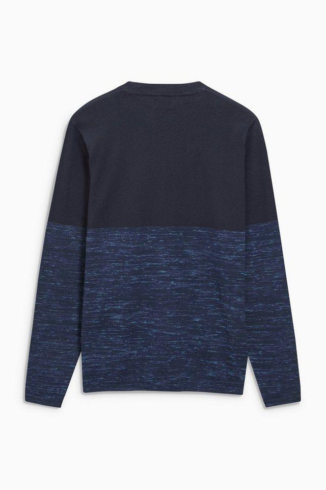 Next Rundhalspullover in Colourblock-Optik in Blue