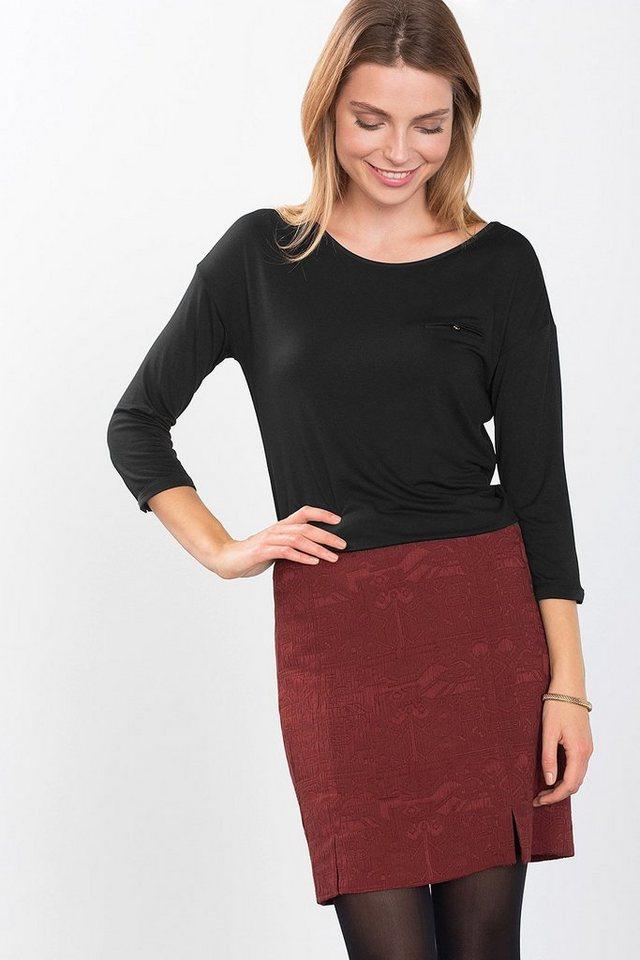 ESPRIT COLLECTION Fließendes Basic Jersey-Shirt mit Satin in BLACK