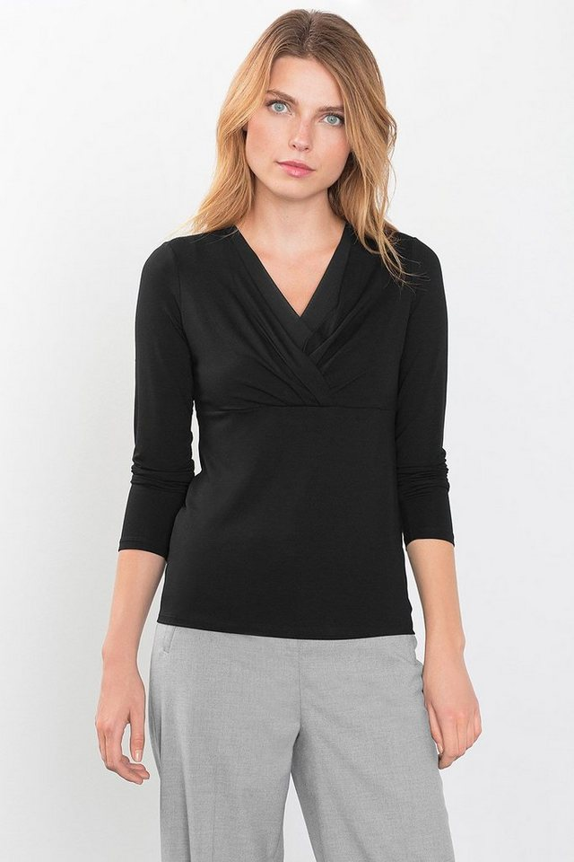 ESPRIT COLLECTION Jersey Shirt mit Layer Wickel-Ausschnitt in BLACK