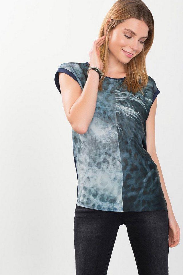ESPRIT COLLECTION Fließendes Print-Shirt im Materialmix in NAVY