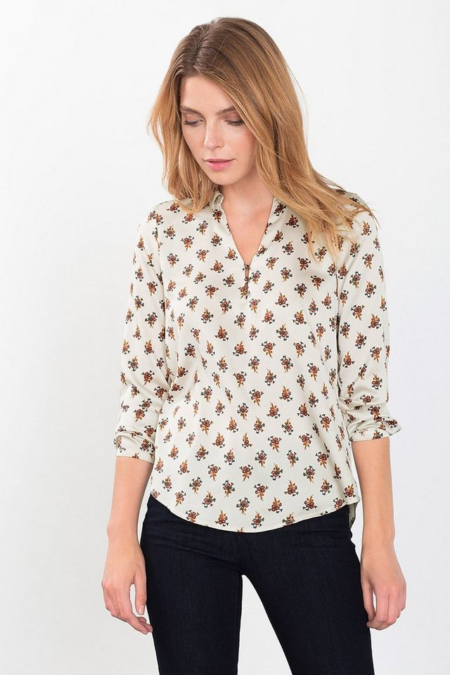 ESPRIT COLLECTION Hammered Satinbluse mit Print in OFF WHITE
