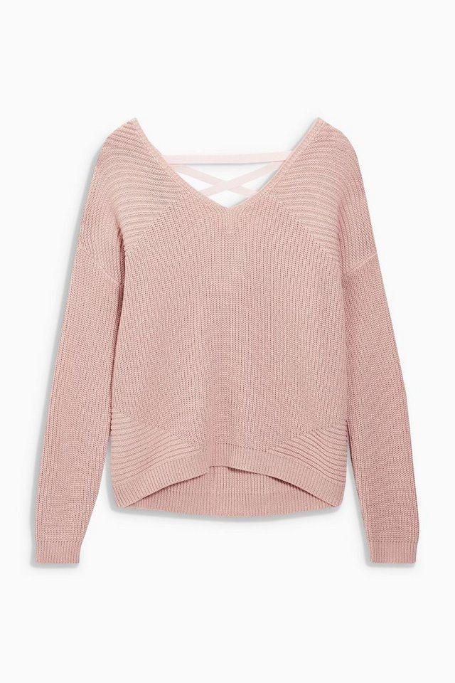 Next Pullover mit Spitze am Rücken in Pink