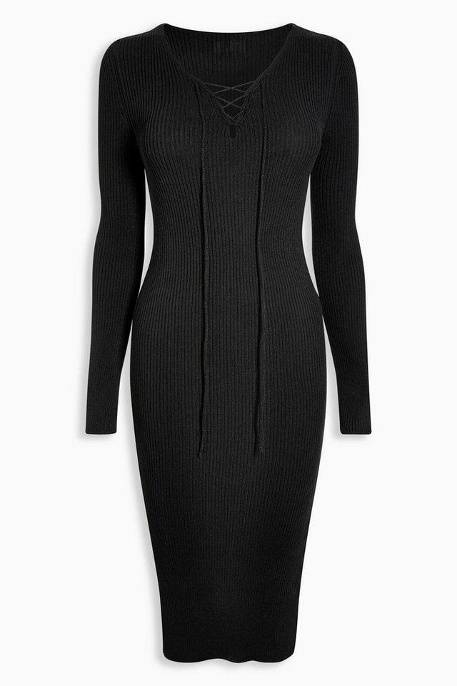 Next Kleid mit Schnürausschnitt in Black