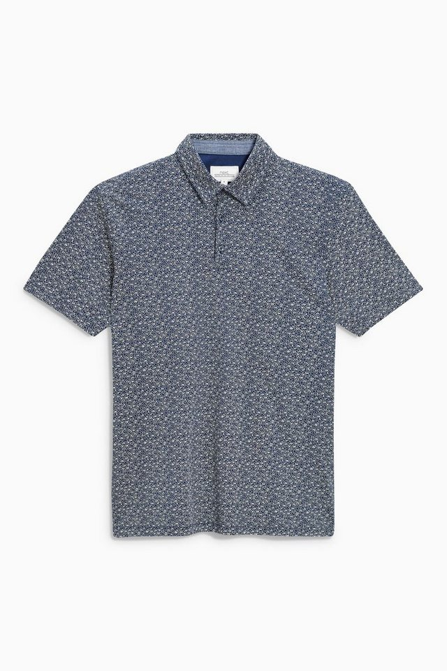 Next Poloshirt mit floralem Muster in Blue