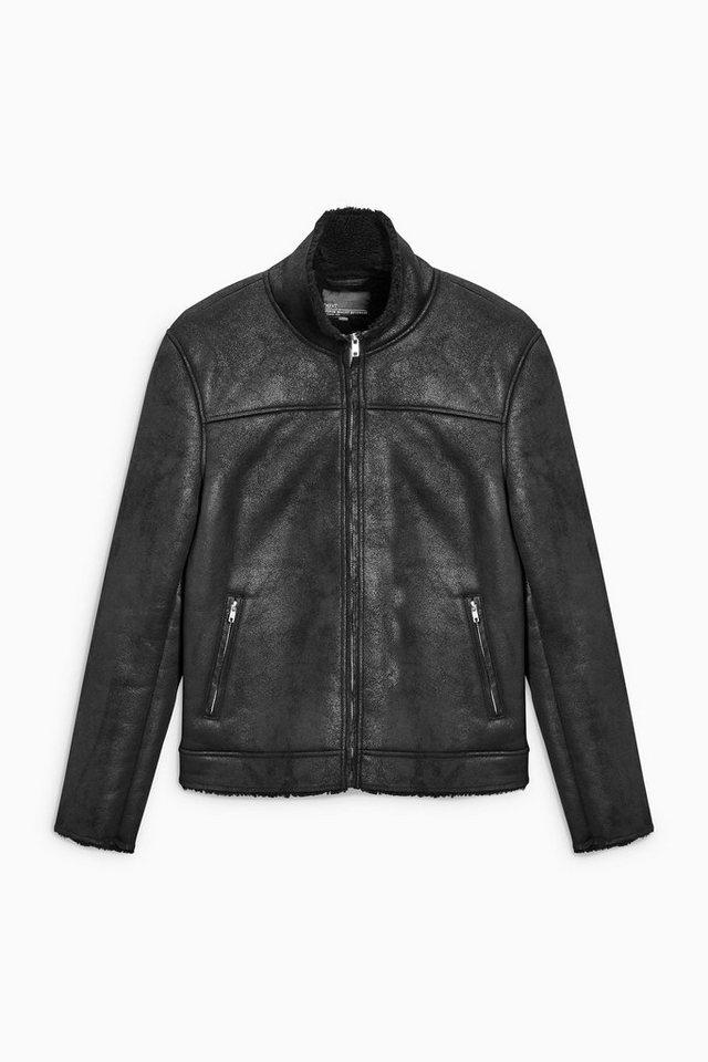 Next Jacke aus Lammfellimitat in Black