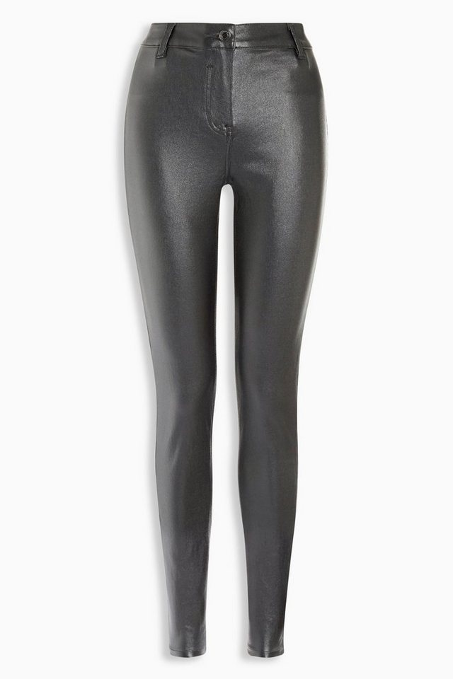 Next Beschichtete Superskinny-Jeans mit Metallic-Effekt in Silver coloured