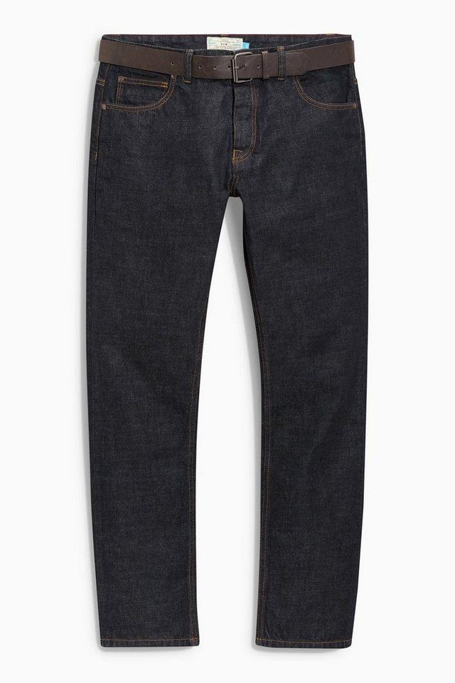 Next Raw Denim Slim-Fit Jeans mit Gürtel 2 teilig in Raw Denim Slim Fit