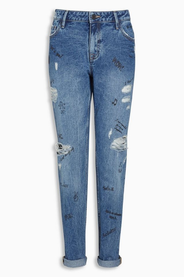 Next Boy-Fit-Jeans mit Kritzelmuster in Mid Blue