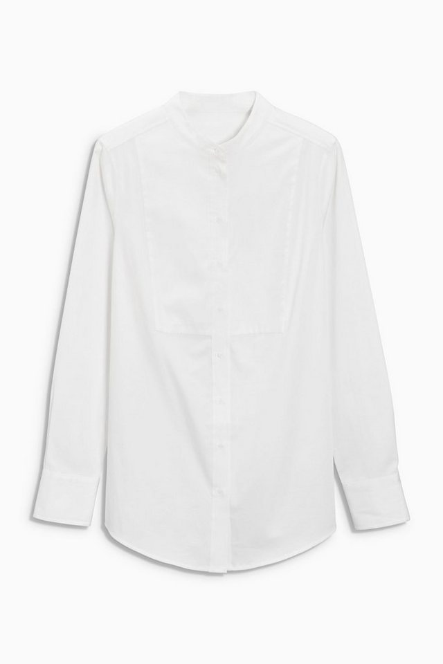 Next Bluse aus Baumwollsatin mit Latz in White