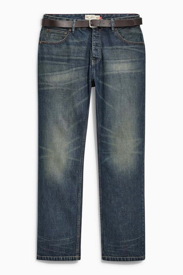 Next Teal Wash Loose-Fit Jeans mit Gürtel 2 teilig in Blue Loose Fit