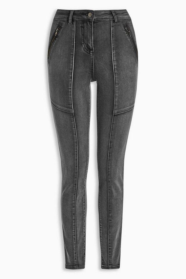 Next Jeans im Utility-Look mit Reißverschluss in Grey