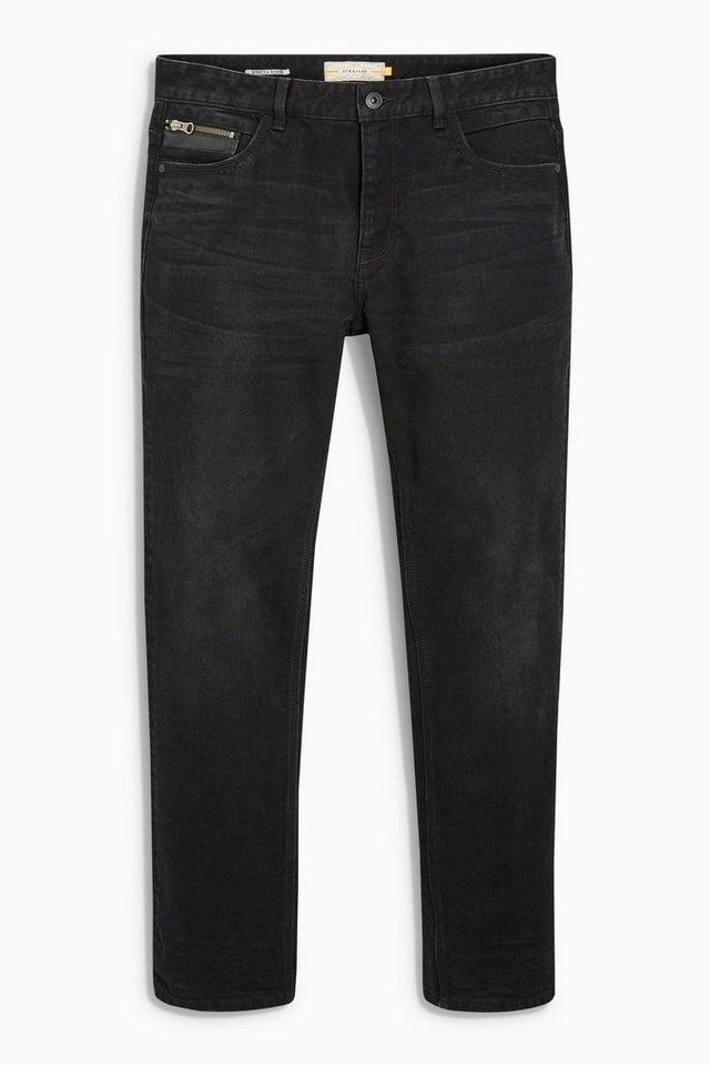 Next Jeans mit Lederbesatz in Black