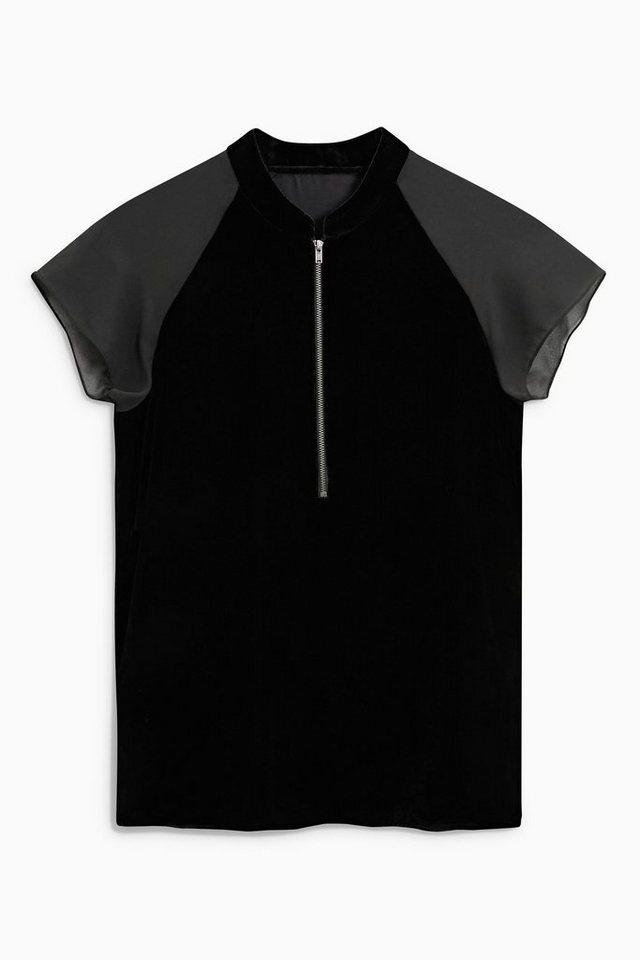 Next T-Shirt aus Samt in Black