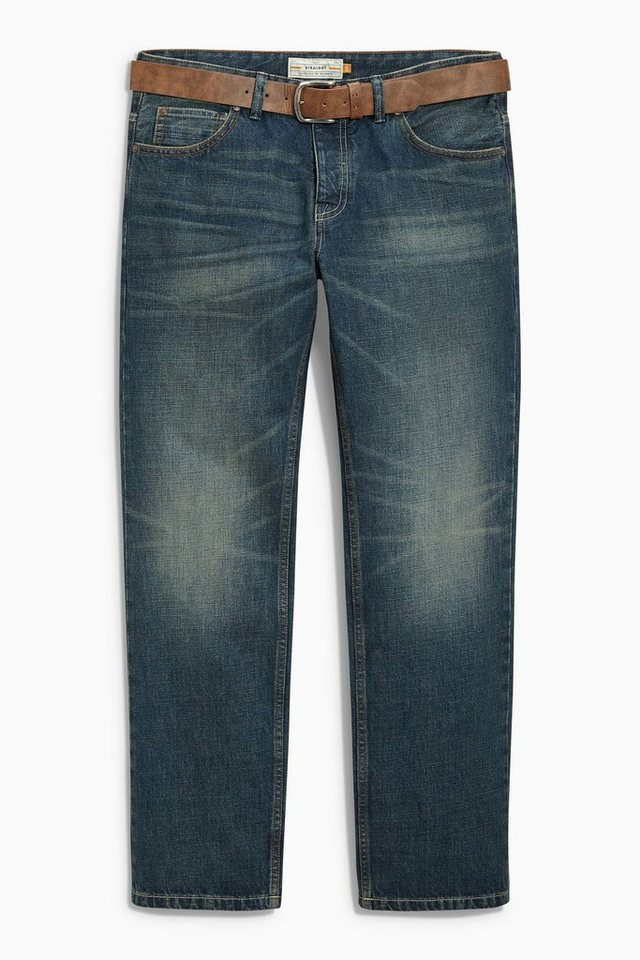 Next Teal Wash Straight-Fit Jeans mit Gürtel 2 teilig in Teal Wash Straight Fit