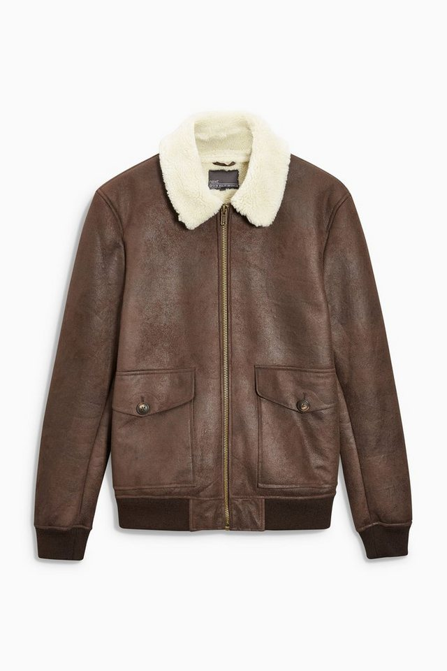 Next Jacke aus Lammfellimitat in Brown