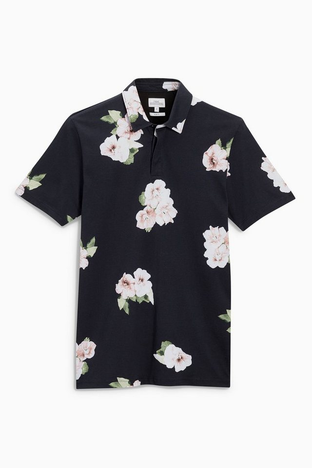 Next Poloshirt mit floralem Muster in Black