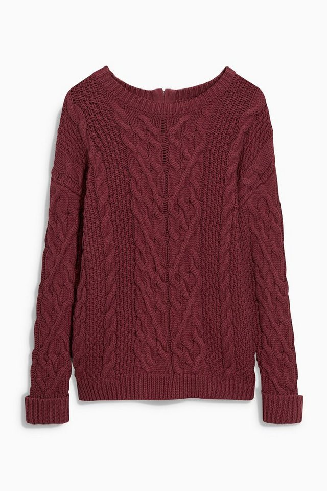 Next Pullover mit Zopfmuster in Berry