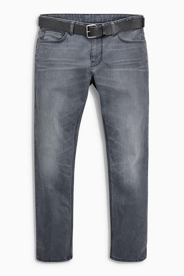 Next Slim-Fit Jeans mit Gürtel 2 teilig in Grey Slim Fit