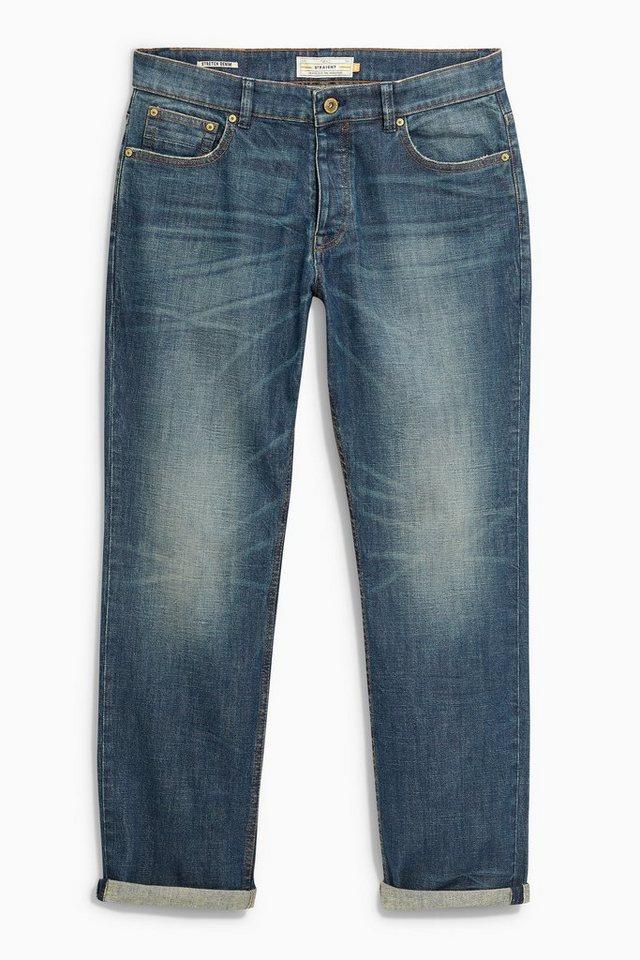 Next Vintage Wash Straight-Fit Stretch Jeans in Blue Straight Fit