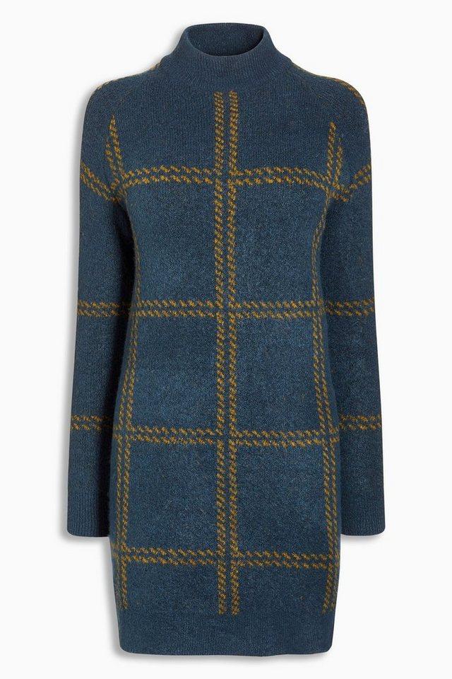 Next Hochgeschlossenes Kleid mit Schottenkaro in Navy Blue