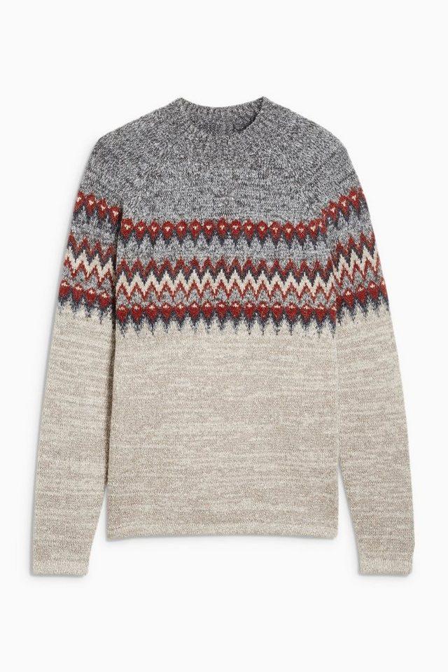Next Pullover mit Norwegermuster und Stehkragen in Grey