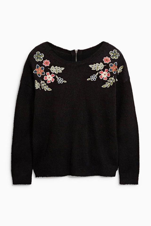 Next Pullover mit floralen Stickereien in Black Floral