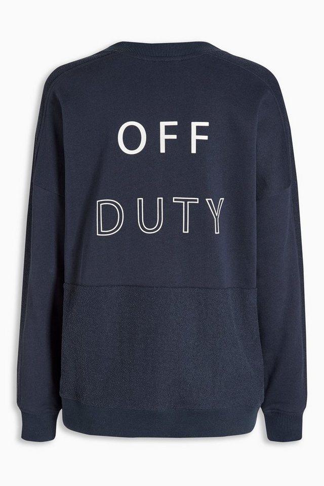Next Sweatshirt mit Slogan in Navy