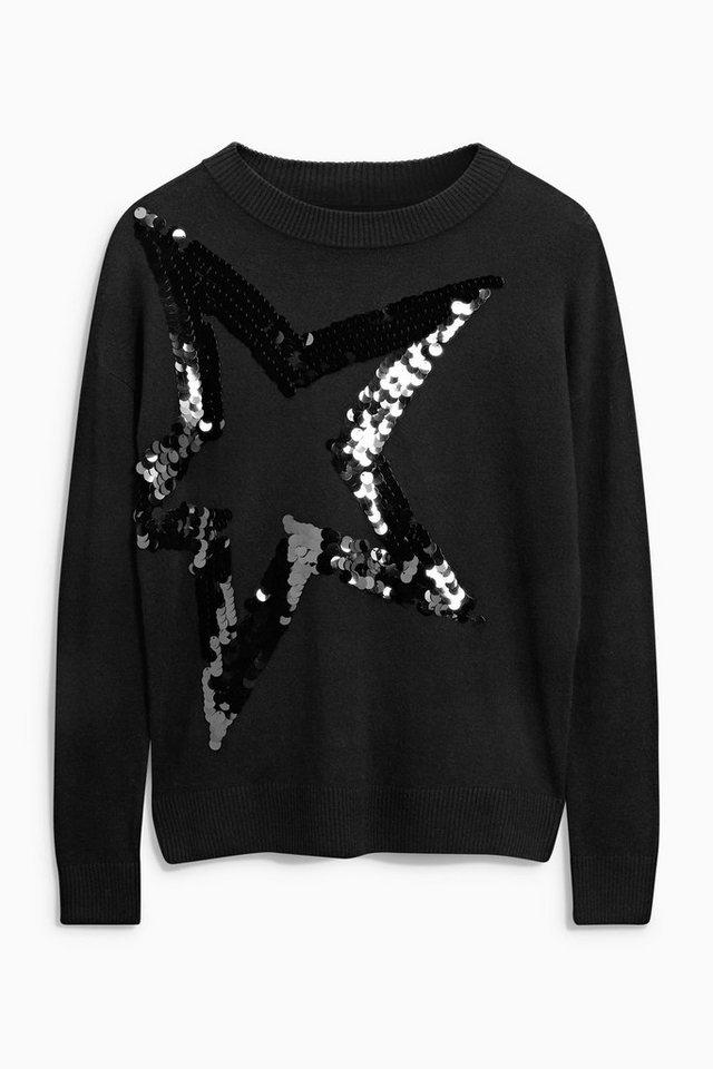 Next Pullover mit Stern aus Pailletten in Black