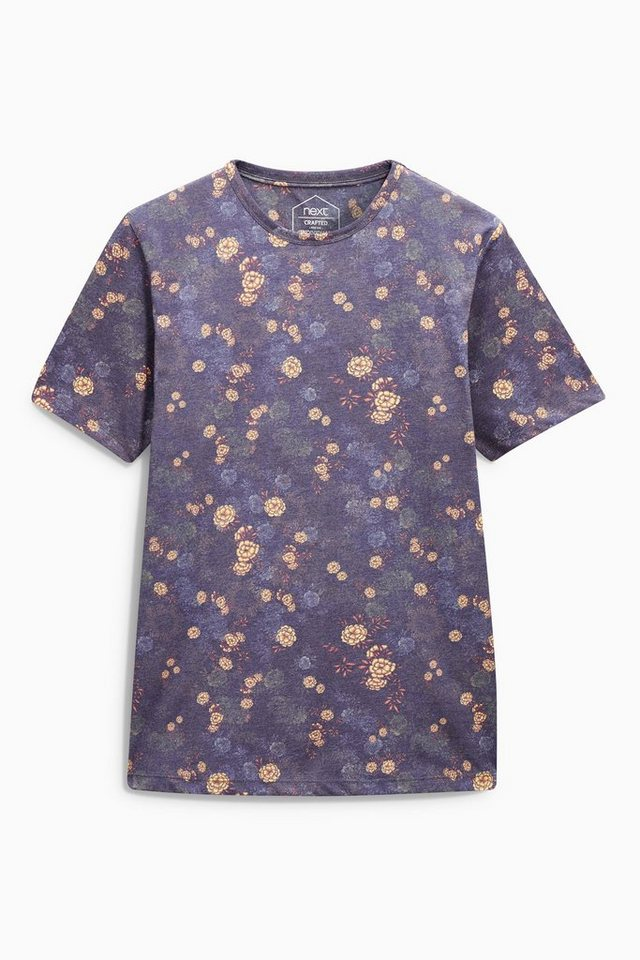 Next T-Shirt mit floralem Muster in Blue