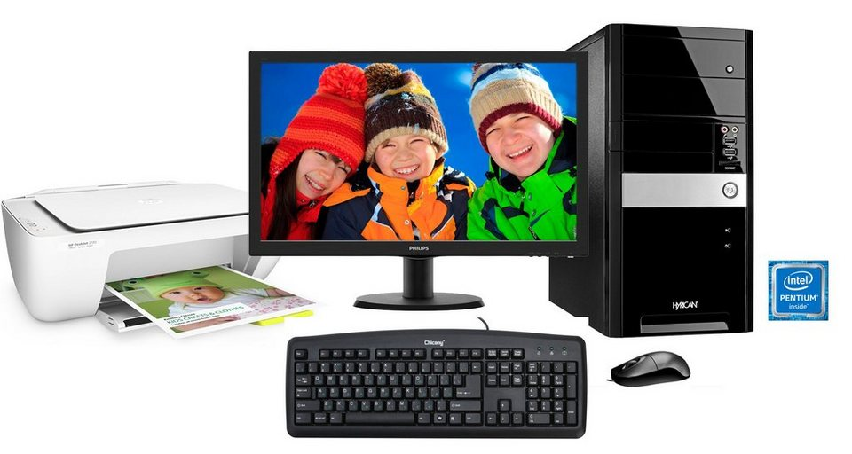 Hyrican PC Set, Intel® Pentium® G4400 , 16GB, 2TB, Monitor + Drucker »SET01093«