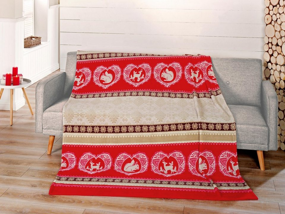 Wohndecke, Gözze, »Cortina«, mit Motiven und Mustern in rot