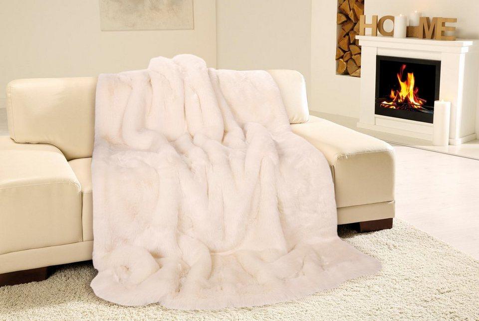 Wohndecke, Gözze, »Eisbär«, in Felloptik in weiß
