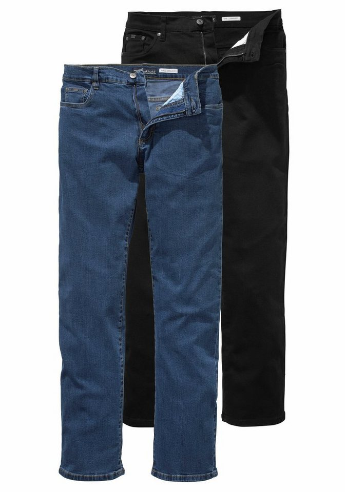 Arizona Stretch-Jeans »John« Straight Fit (Packung, 2 tlg.) in blue-stone+black