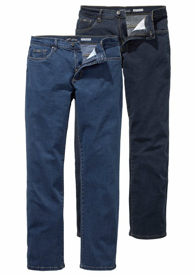 Arizona Stretch-Jeans »John« Straight Fit (Packung, 2 tlg.) in blue-stone+dark-blue