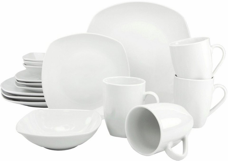 CreaTable Kombiservice, Porzellan, 16 Teile, »Square« in weiß