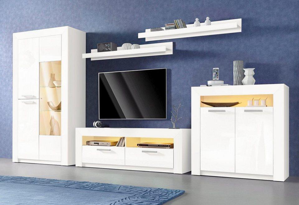 Wohnwand (5-tlg.) in weiß/weiß Hochglanz
