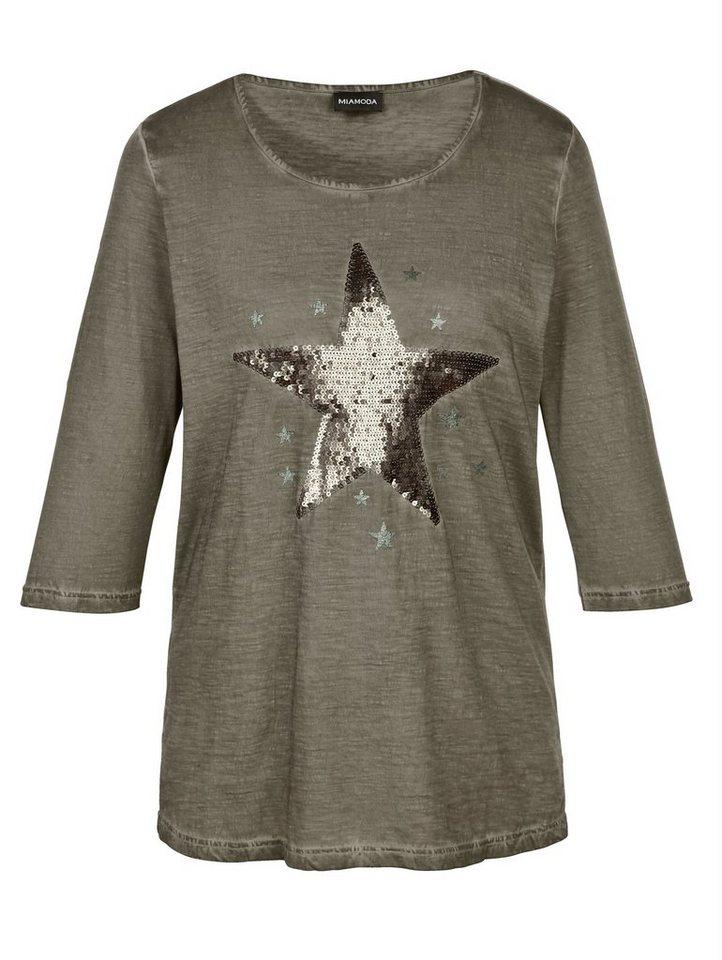 MIAMODA Shirt mit Sternmotiv in khaki