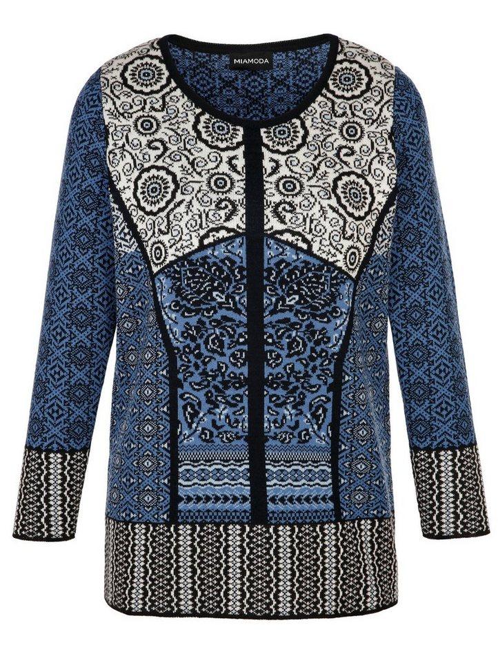 MIAMODA Pullover in blau/weiß