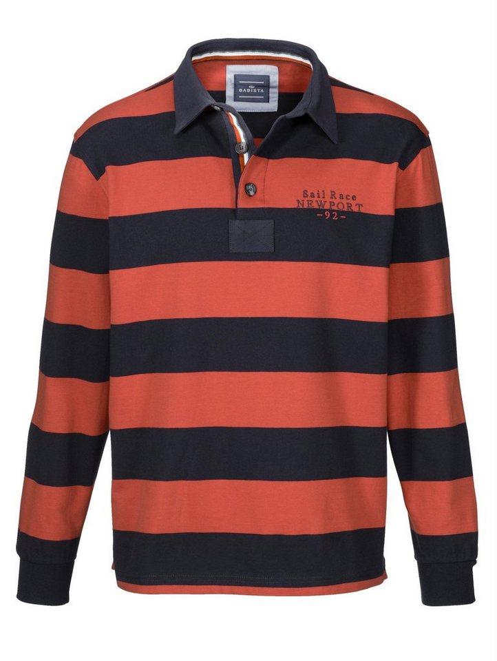 Babista Sweatshirt mit Hemdkragen in marine-orange