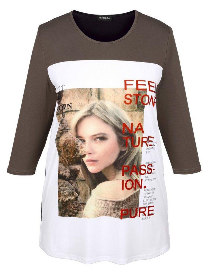 MIAMODA Shirt mit femininem Druckdessin in braun/schwarz/weiß