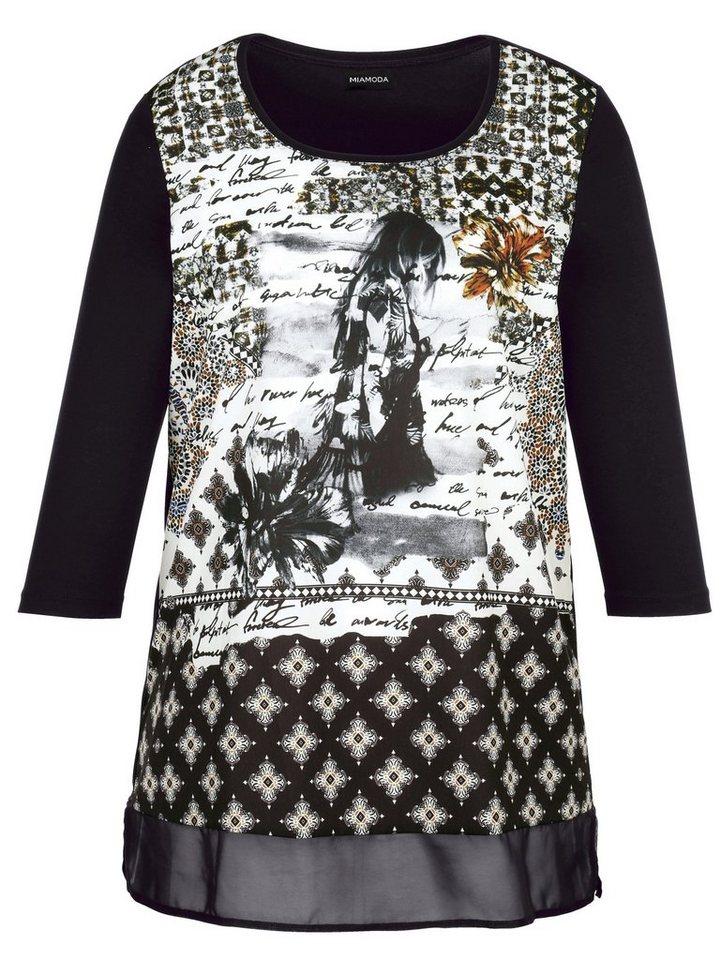 MIAMODA Shirt in schwarz/weiß/Khaki