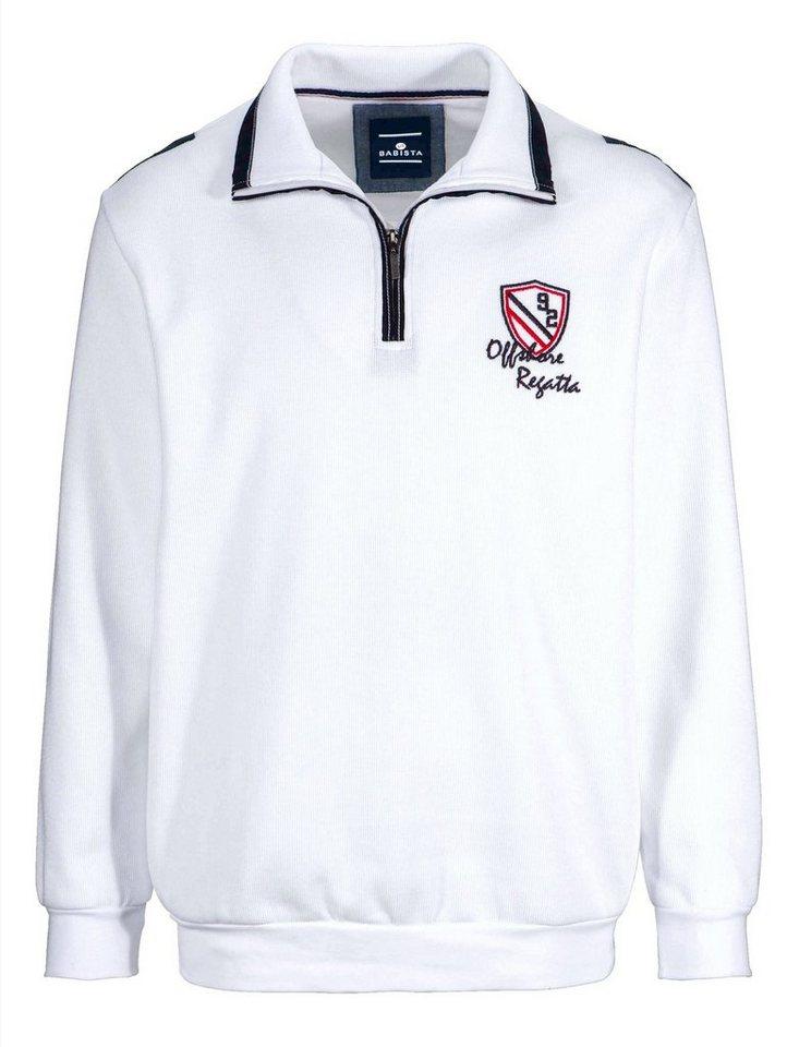 Babista Sweatshirt mit Ellenbogenpatches in weiß
