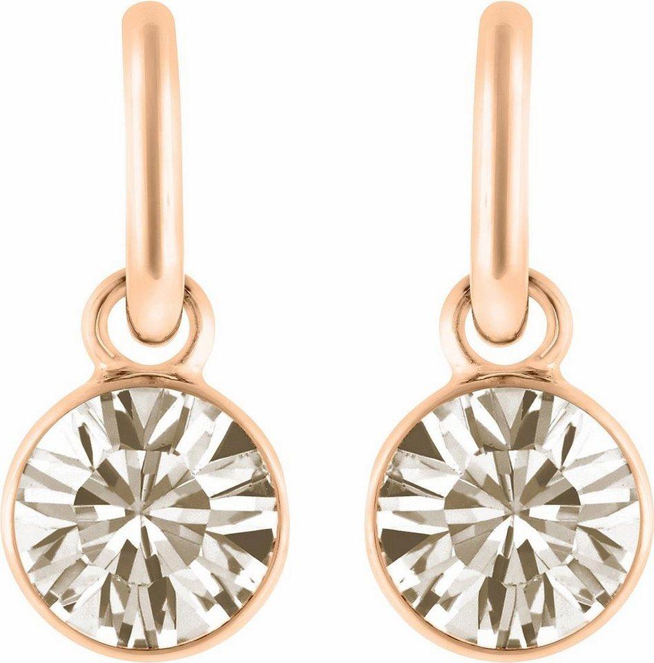 Lolaandgrace Paar Ohrstecker »STONE DROP HOOPS, 5099548« mit Swarovski® Kristallen in roségoldfarben-rosa