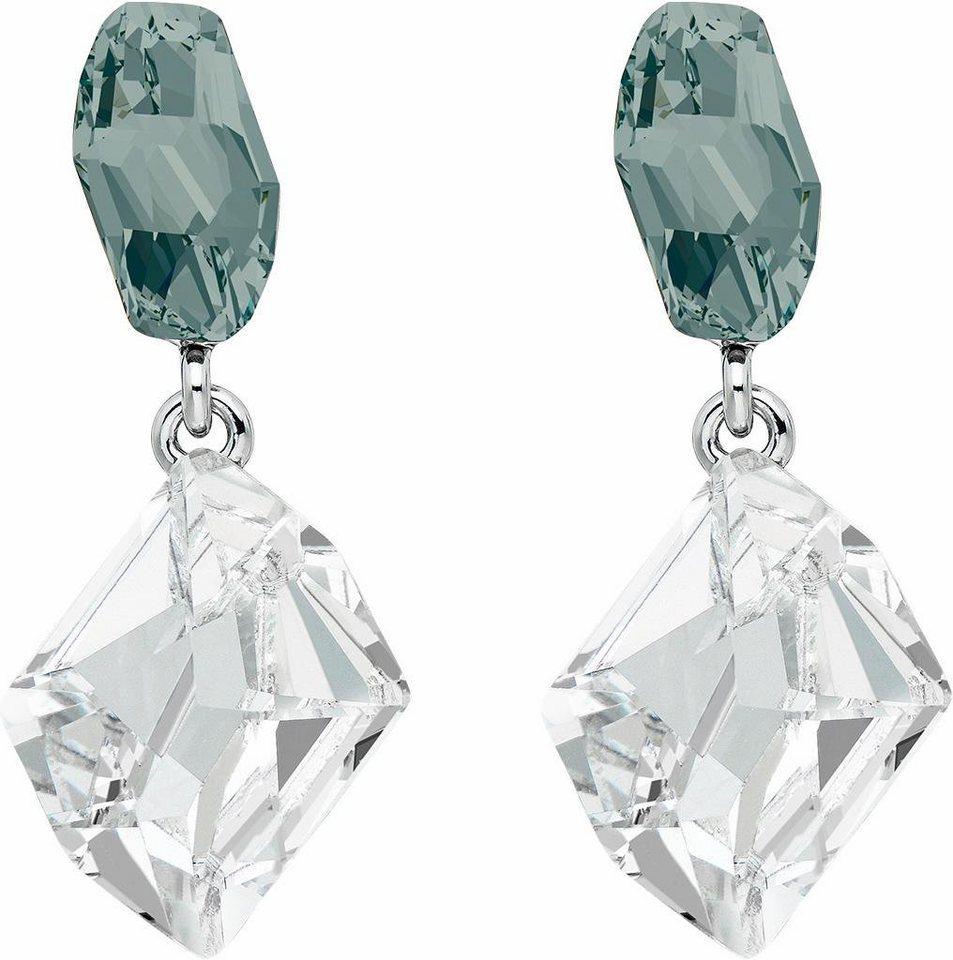 Lolaandgrace Paar Ohrstecker »GALACTIC DOUBLE DROPS, 5251870« mit Swarovski® Kristallen in grau