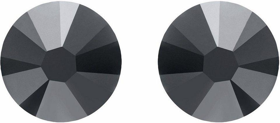 Lolaandgrace Paar Ohrstecker »STONE SIMPLE STUDS, 5006938« mit Swarovski® Kristallen in silberfarben-schwarz